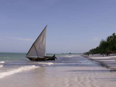 Beach holidays to Zanzibar - dhow on the beach, Northeast coast of Zanzibar